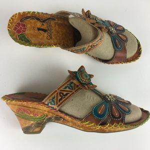 fc98f87af2029 CORKYS JAMAICA Wedge Slide Heeled Sandals Leather